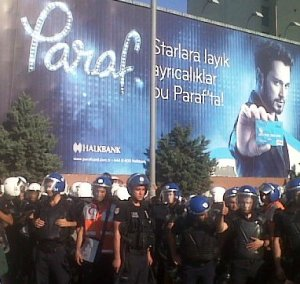 Police and billboards, Turkey, July 2013